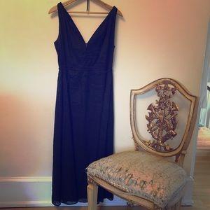 Deep V linen dress